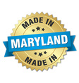 made in Maryland gold badge with blue ribbon vector image vector image