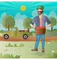 Middle aged man-farmer with box of fruits vector image vector image