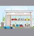modern car dealership showroom with reception vector image vector image