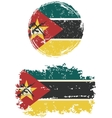 Mozambique round and square grunge flags vector image vector image