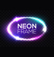 neon sign oval frame with glowing light sparkles vector image vector image