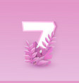 number seven with pink tree vector image vector image