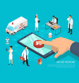 online doctor isometric medical composition vector image