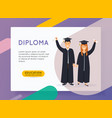 online education concept man and woman graduates vector image