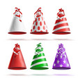 realistic party hat set celebrations vector image