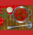 red soup in a pot with onions parsley and garlic vector image vector image