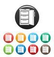 refrigerator icons set color vector image vector image