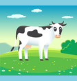 rural landscape with cow in meadow vector image vector image