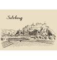 Salzburg skyline Austria vintage hand drawn sketch vector image vector image