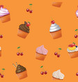 seamless cupcakes pattern vector image vector image