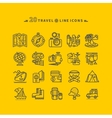 set black travel icons on yellow background vector image