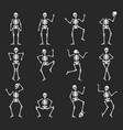 set funny halloween skeleton flat vector image vector image
