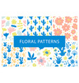 Set hand drawn colorful floral repeat patterns