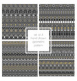 set of 4 hand drawn seamless geometric patterns vector image vector image