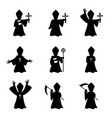 set of bishop with book and cross in silhouette vector image vector image