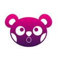 silhouette surprised bear head cute animal vector image