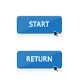 start and return button design vector image vector image