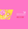 sweet shop horizontal banner with sweets cookies vector image vector image