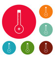 thermometer warmly icons circle set vector image vector image