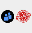 users icon and distress public section vector image vector image