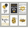 Valentines day set cards Calligraphy lettering vector image vector image