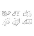 vehicle icon set outline style vector image