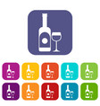 wine and glass icons set vector image vector image
