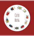 wreath with cute bugs vector image