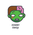 zomby emoji line icon sign vector image