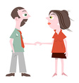 Man and Woman Holding Hands Isolated on Whit vector image