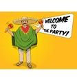 Mexican with maracas pop art style vector image