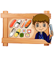 A frame with a boy beside the delectable sushi vector image vector image