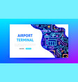 airport terminal neon landing page vector image vector image