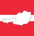 austria map outline design on flag red white vector image vector image