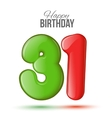 birthday Greeting card with numbers 31 thirty vector image vector image