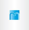 blue square letter m logo design icon vector image