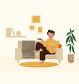 boy relaxing at home design vector image vector image