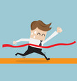 businessman in finish line business success vector image vector image