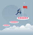 businessman jumping to big goal vector image