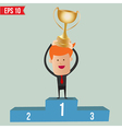 Cartoon business man hold winner cup on winner vector image