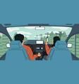cartoon car interior couple driving during vector image
