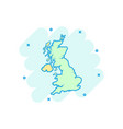 cartoon united kingdom map icon in comic style vector image vector image