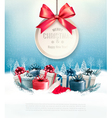 Christmas presents with a gift card and a ribbon vector image vector image
