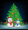 christmas tree snowmans and night city vector image vector image