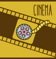 cinema cartoon symbol over reel background vector image