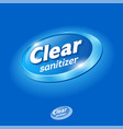 clear logo sanitizer hands hand antiseptic vector image
