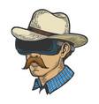 cowboy in vr helmet glasses color sketch engraving vector image vector image