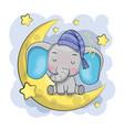 cute cartoon elephant is sleeping on moon vector image