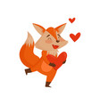 cute happy cartoon red fox character holding red vector image