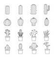 different cactuses icons set outline style vector image vector image